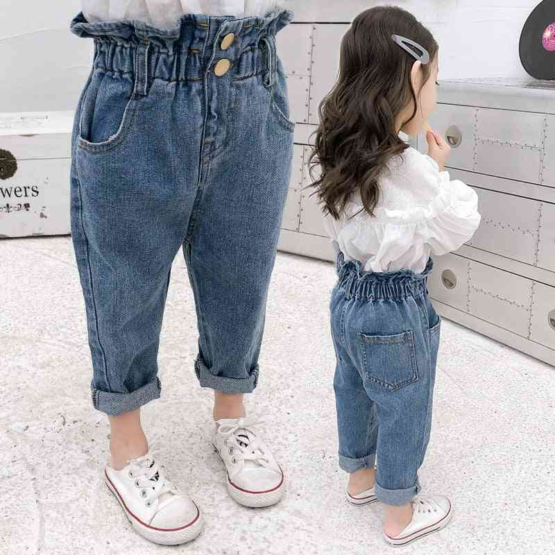 Autumn Spring Baby Casual Elastic Waist Jeans Cotton Button Trousers