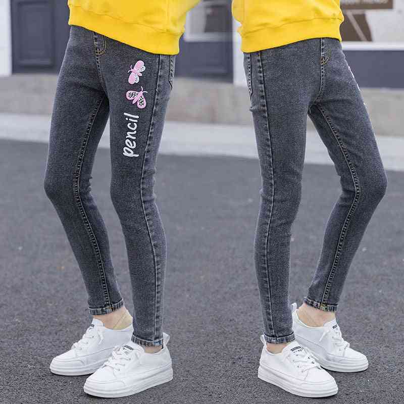 Young Girl Jeans With Butterfly Print Princess Skinny Jeans Denim Pants 4-14 Years