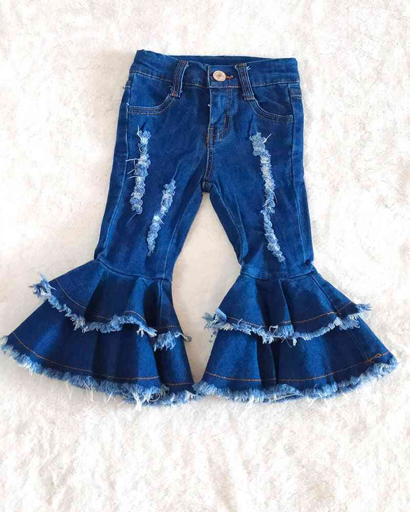 New Style Fashion Girl Double-layer Jeans - Ripped Jeans Bell Pants