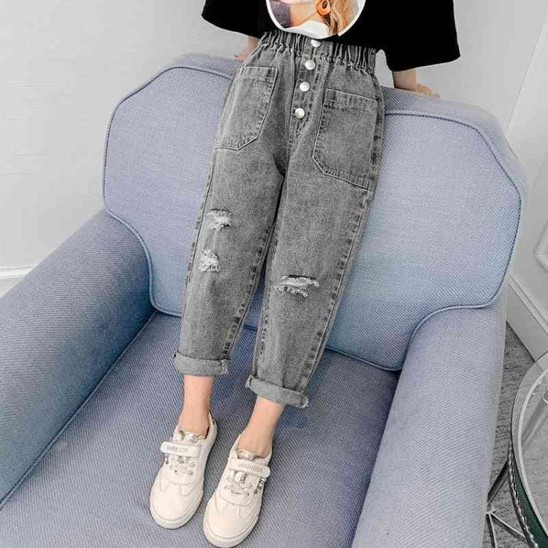 Kids Casual Loose Cartoon Embroidered Thin Jeans