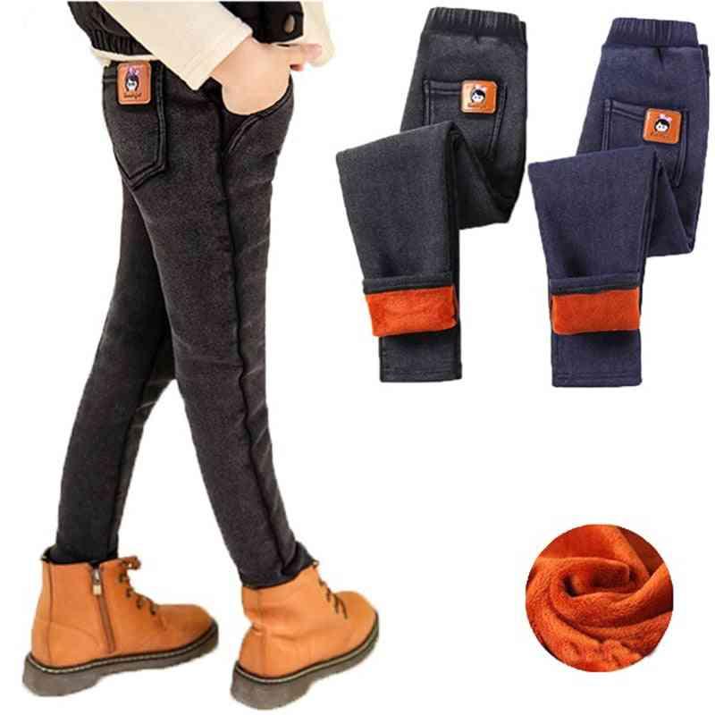 Kids Warm Fleece Denim Skinny Pants For Baby Slim Jeans