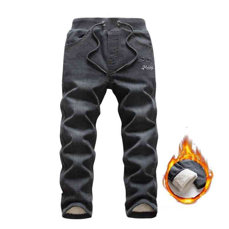 Leisure Winter Black Plus Velvet Boy Jean