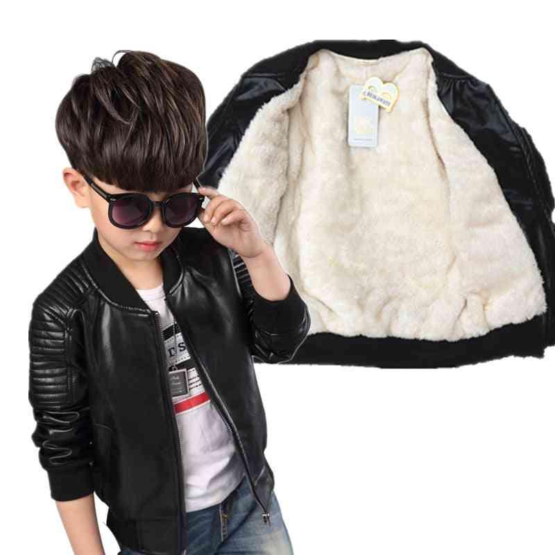 Fashion Baby Leather Boy Jacket  Fleece Jacket Coats Garcon Jacket