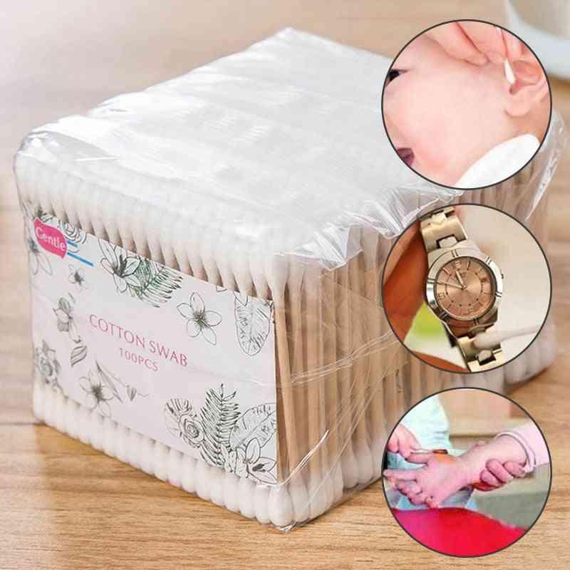500pcs Baby Disposable Double Head Cotton Soft Cosmetics Ear Clean Wood Sticks (01)