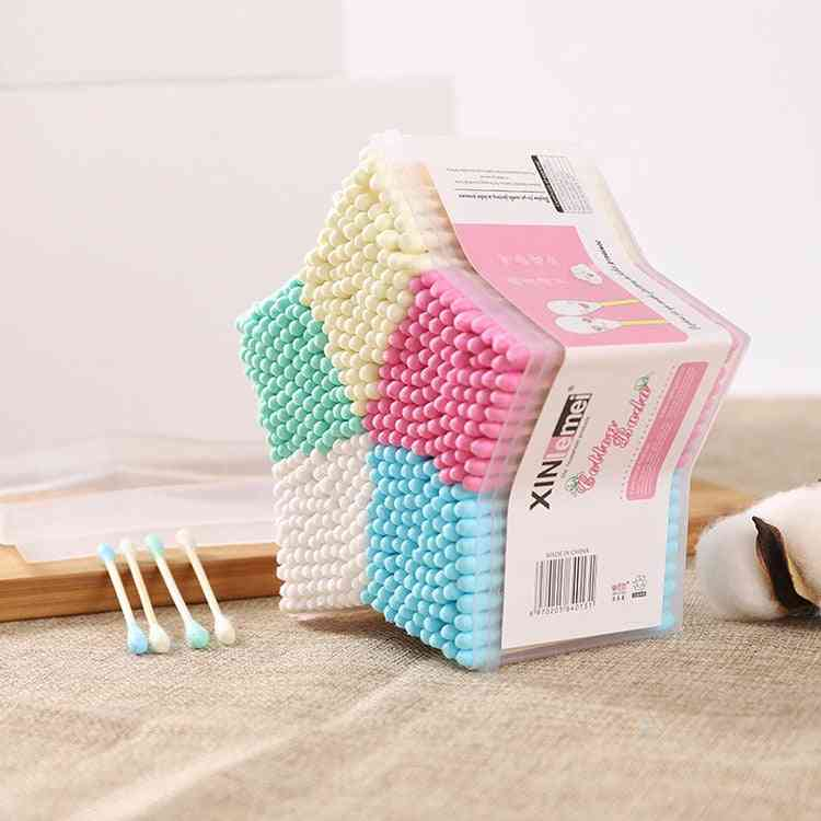 500pcs Ear Buds Cotton Swab Stick, Baby Cleaning Tools New Hot Selling Cosmetic Makeup (500pcsswabs)