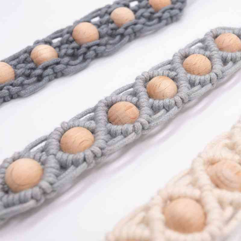 Baby Dummy Chain Pacifier Clip Crochet Cotton Soother Holder Wooden Toy