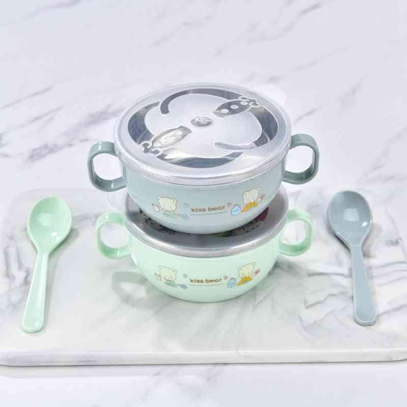 Baby Bowl Stainless Steel Insulation Spoon Set, Tableware Cartoon Printed