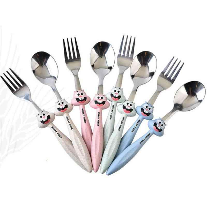 2 Pcs Baby Feeding Spoon Fork Cutlery Set, Kids Cartoon Stainless Steel Tableware