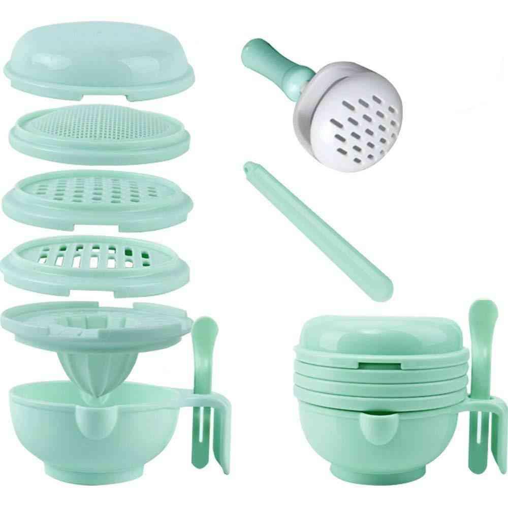 Portable Baby Feeder Food Processor Masher Serve Bowl Vegetables Fruit Ricer Grinder