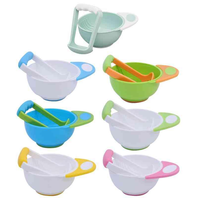 Baby Food Mills Feeding Bowl Universal Spill-proof Bowl & Food Grinding Bowl Set