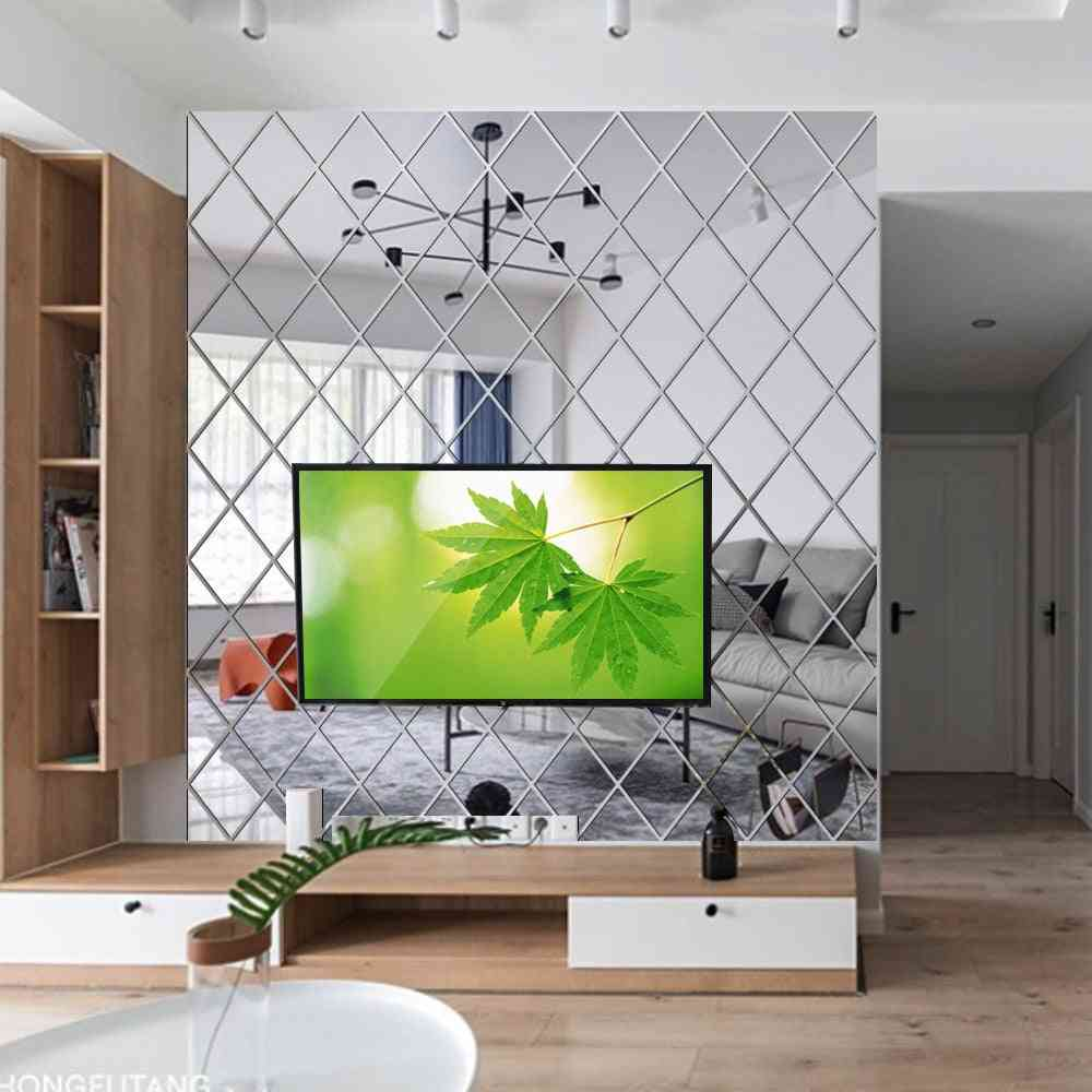 Wall Stickers, Self-adhesive Art Decals, Diamond Shape Mirror Sticker For Tv Background, Home Decor