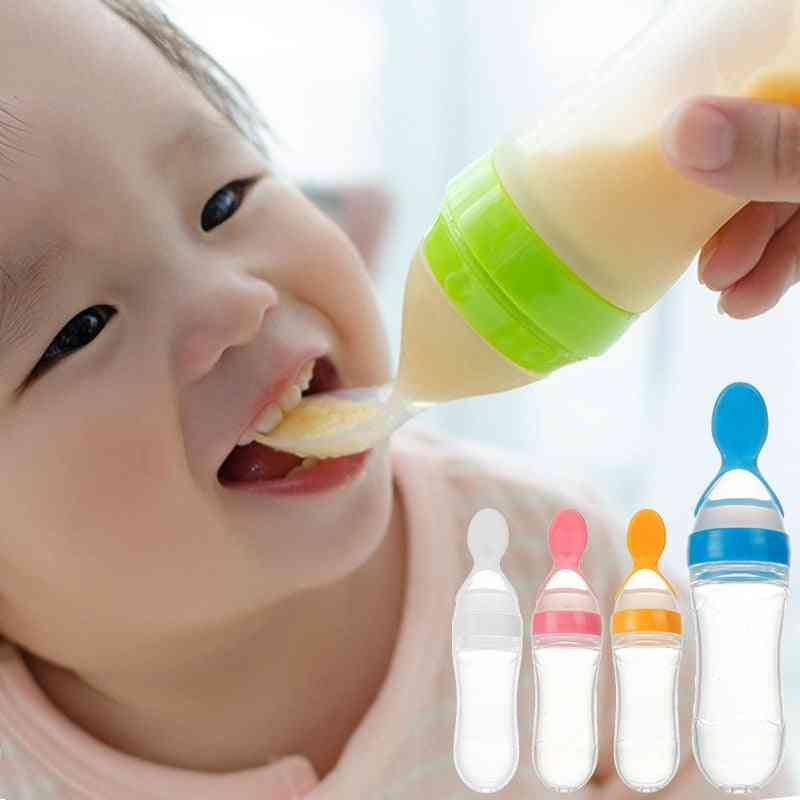 Baby Feeding With Spoon Feeder Food Rice Cereal Bottle