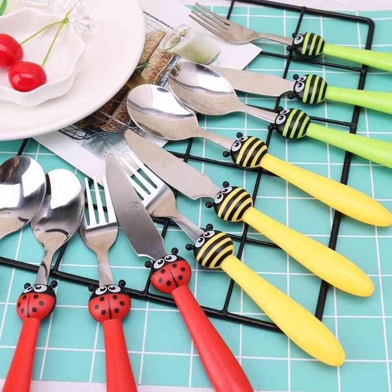 Kids Tableware, Stainless Steel, Feeding Spoon & Fork & Knife, Cartoon Feeding Spoons
