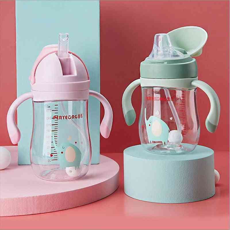 Silica Gel Feeding Kids Drink Cups, Water Bottles, Drinking Sippy Cup With Straw, Handle Infantil Drinker