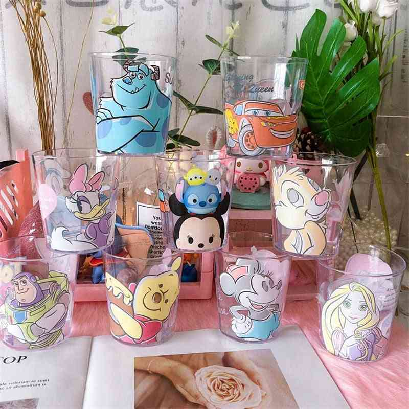 Cute Cup Cartoon, Mickey Print Pattern, Transparent Plastic Juice Drink, Mouthwash Brush Tooth Couple Cups