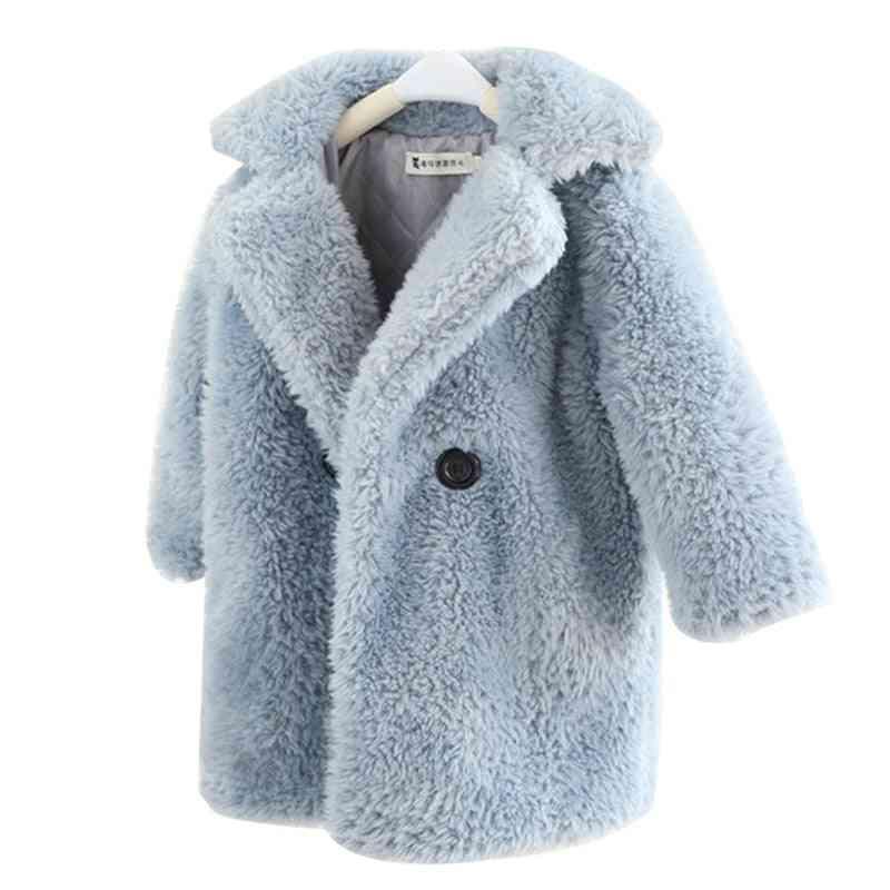 Children Faux Fur Coat, Baby Turndown Collar Thicken Warm Jacket