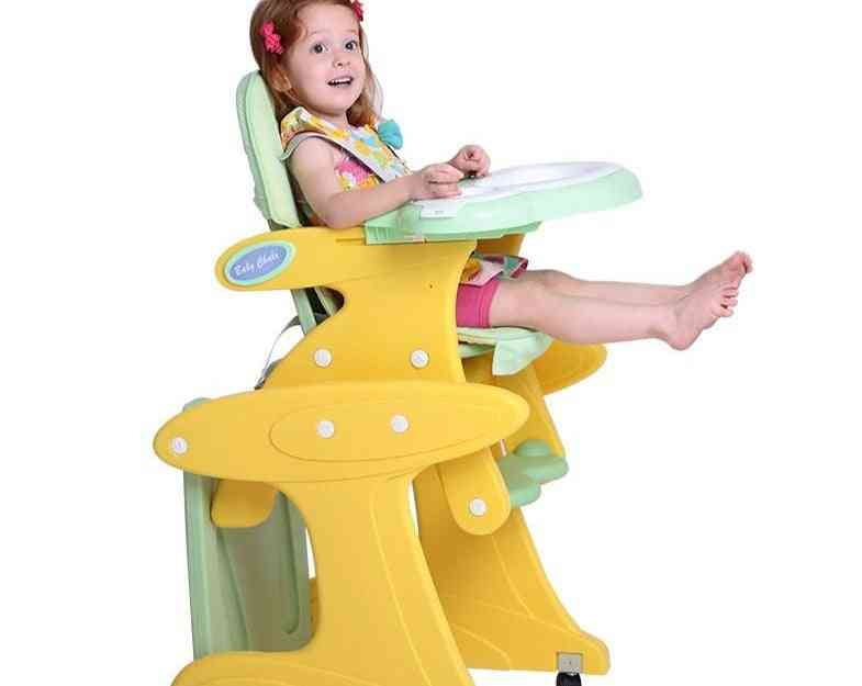 Chair+table+rocking Base+desk, Convertible Booster Seat With 5-point Harness, 4-wheeled Baby High Chair