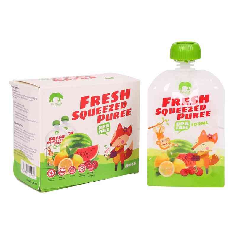 Baby Food Squeeze Storage Double Pouches 100ml Bpa Free Solid Feeding Storage (green)