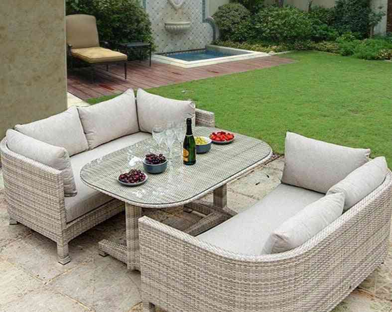 3 Pcs Outdoor Dining Set , Metal Frame Coversation Set All-weather, Rattan Wicker Chat