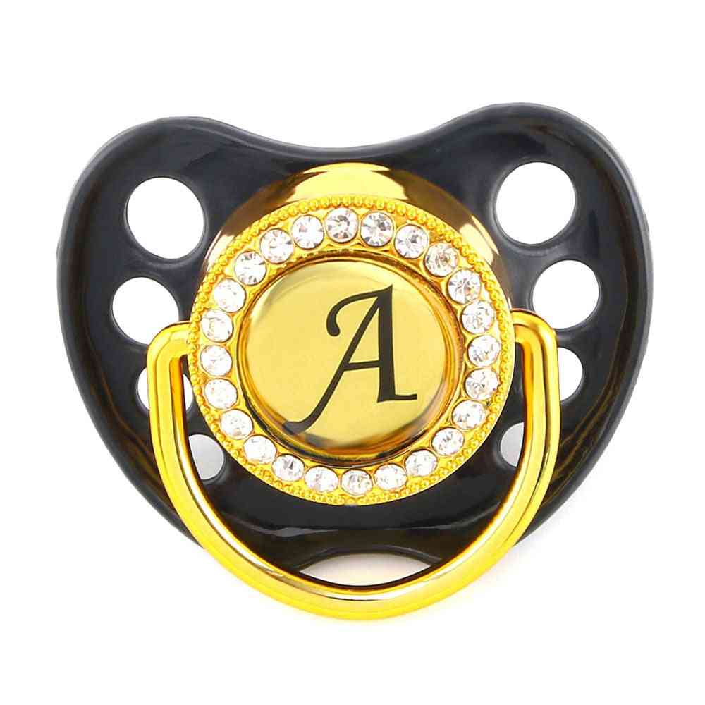 Name Initial Letters Silicone, Baby Orthodontic Dummy Teat Nipple Baby Pacifier Holder