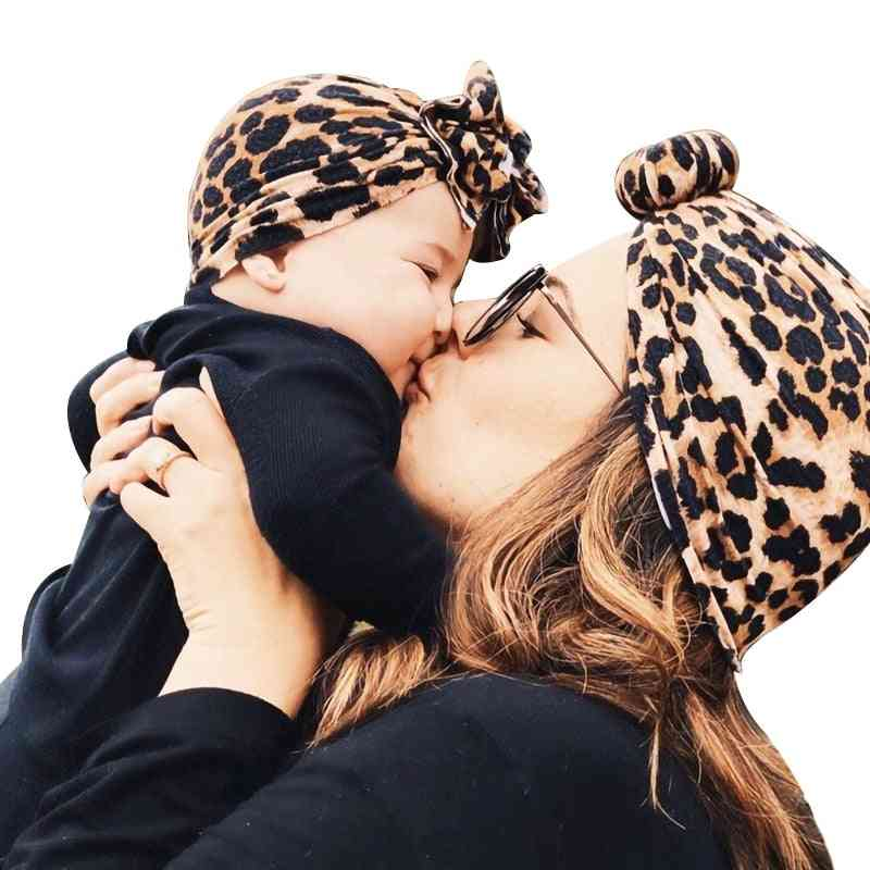 Newborn Baby Girl Boy Mom Turban Hat Bows Flower Head Wrap Leopard Cotton Cap