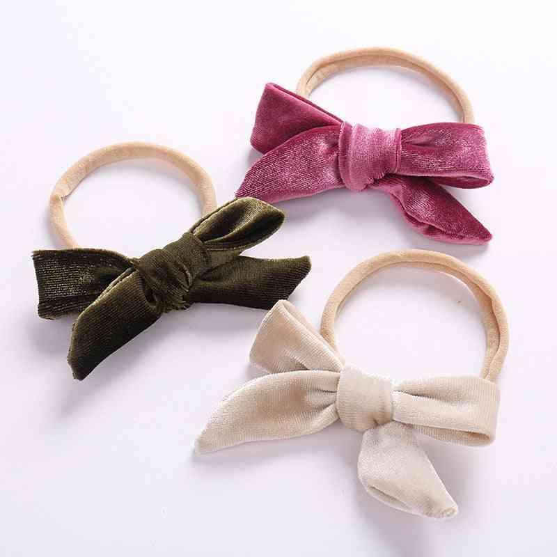 Baby Girl Headband Velvet Bow Headband Thin Nylon Headbands Soft Hair Band