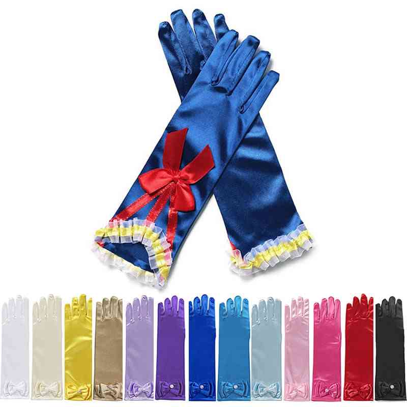 Long Gloves For Elsa Princess, Wedding Dress Glove With Bow Costume