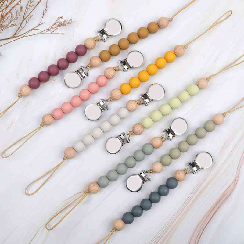 Pacifier Silicone Beads Bpa Free Diy Dummy Clip, Soother Chain Baby Teething