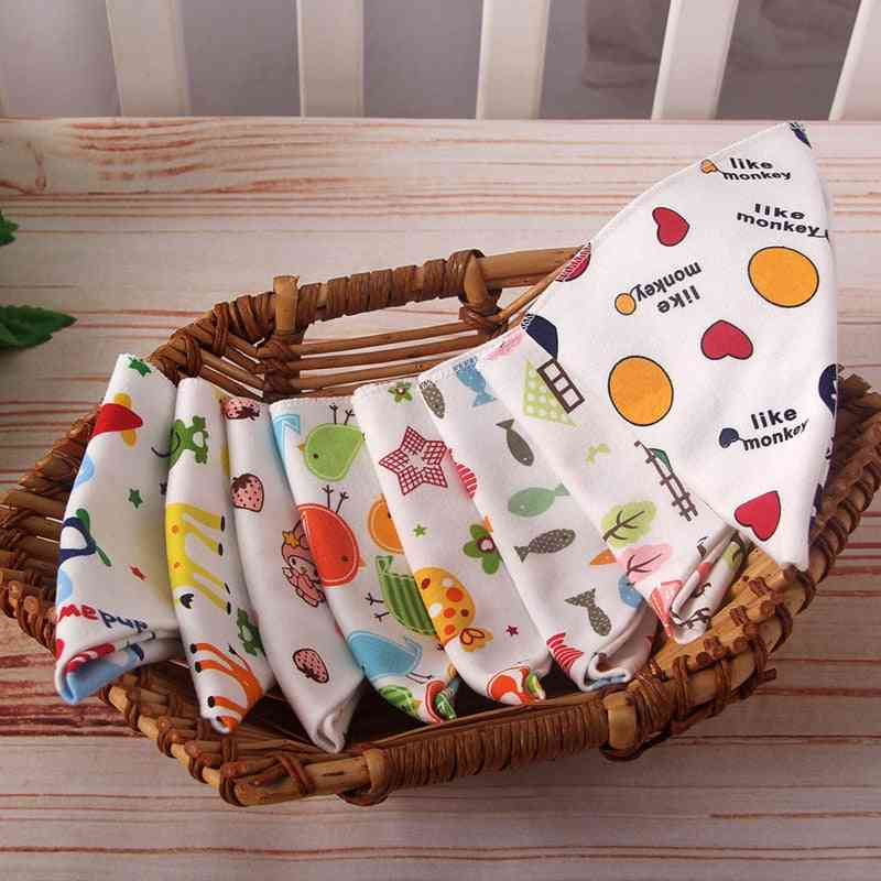 Baby High-quality Triangle Double Layers Cotton Babes Cartoon, Baby Bibs Dribble