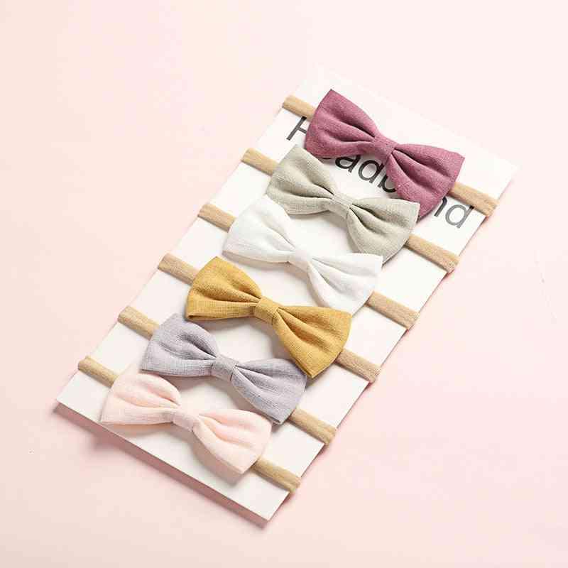 6pcs/lot Hair Bows Headband Nylon Headbands Linen Fabric Hairband