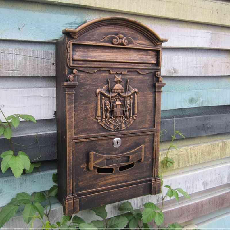 Retro Mailbox Villas Post Box European Lockable Outdoor Wall Secure Letterbox Garden Home Decoration