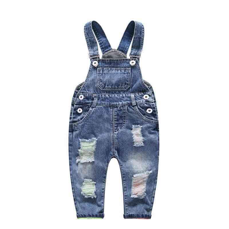 Denim Jumpsuit Hole Button Suspender  Overalls Kids Child Jeans Trousers/pants
