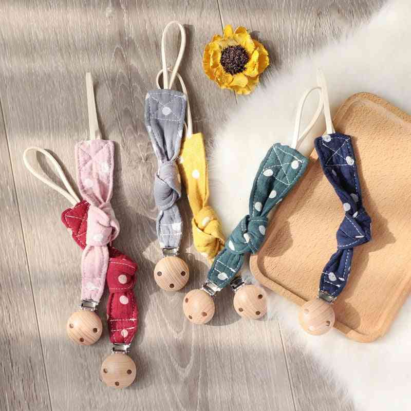 Baby Pacifier Clip Chain Cotton Cartoon Wave Point Country Style Pacifier Holder Dummy Handmade
