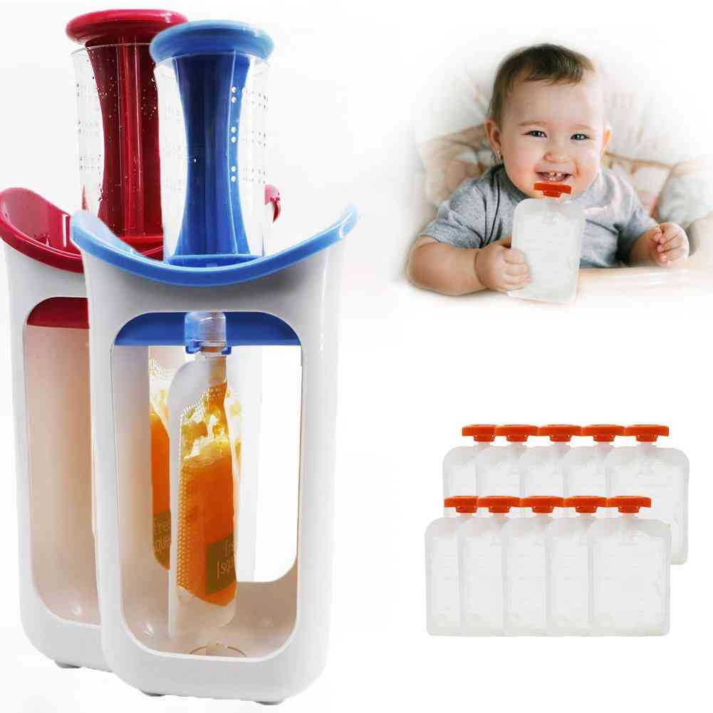 Fruit Food Squeeze Station Baby Fresh Fruit Juice Food Maker Pouch Puree Squeezer Dispenser Squeezer