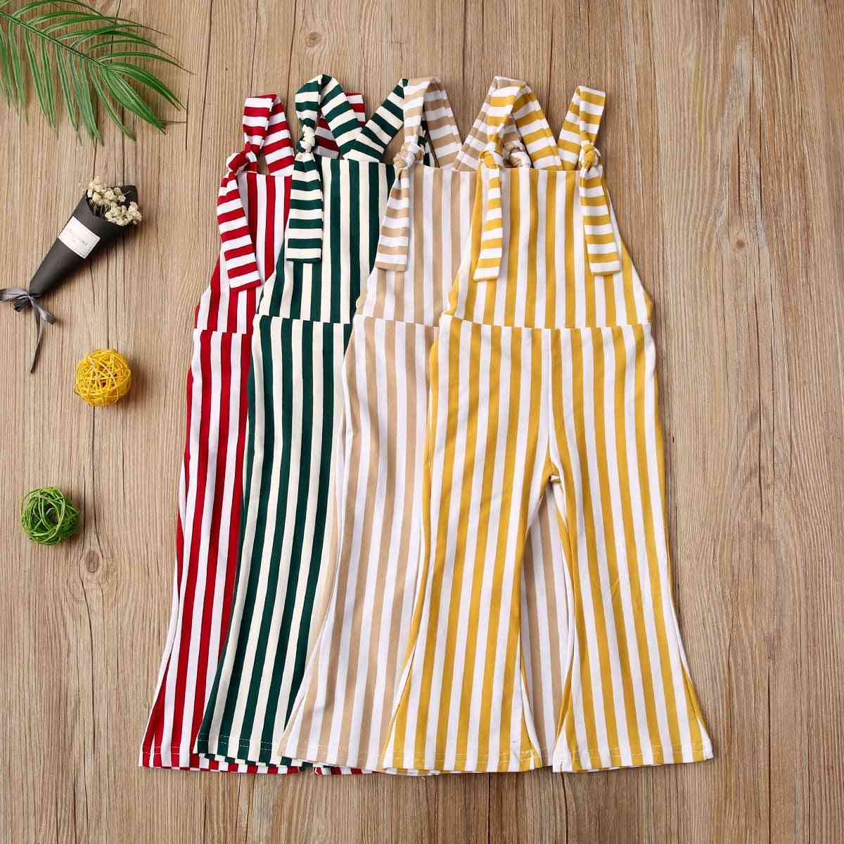 Toddler Sleeveless Vertical Stripes Rompers Bell-bottom Jumpsuits Overalls Pants