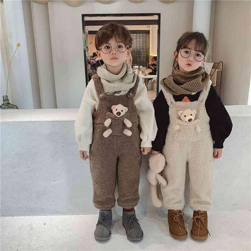 Winter Baby Plus Fleece Warm Overall, Toddler Kids Cute Pocket Bear Trousers