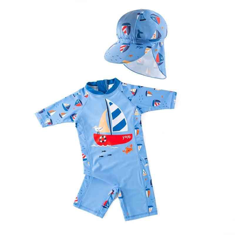 Children's Swimsuit One Piece Blue Long Sleeve
