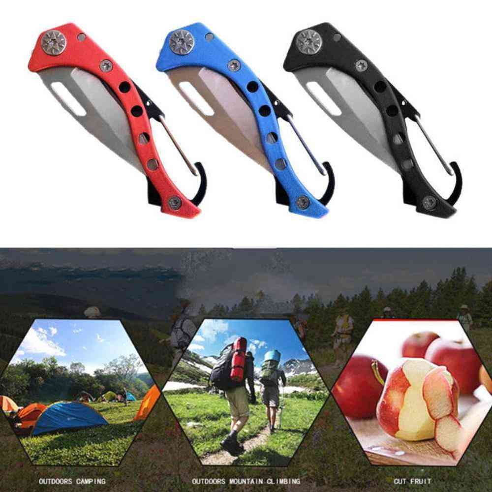 Folding Peel Pocket Carabiner Knife, Outdoor Box Blade, Camp Open, Multi Tool, Quickdraw Clip, Self Care Survive