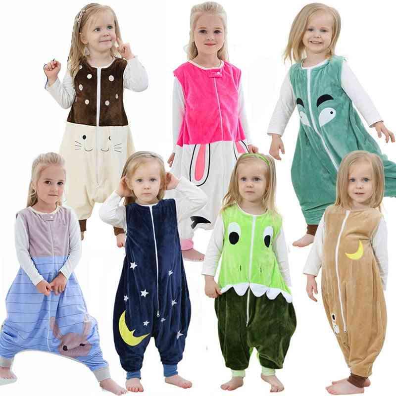 Spring Sleepwear Flannel Sleeping Bag, Cartoon Baby Clothes, Pajamas