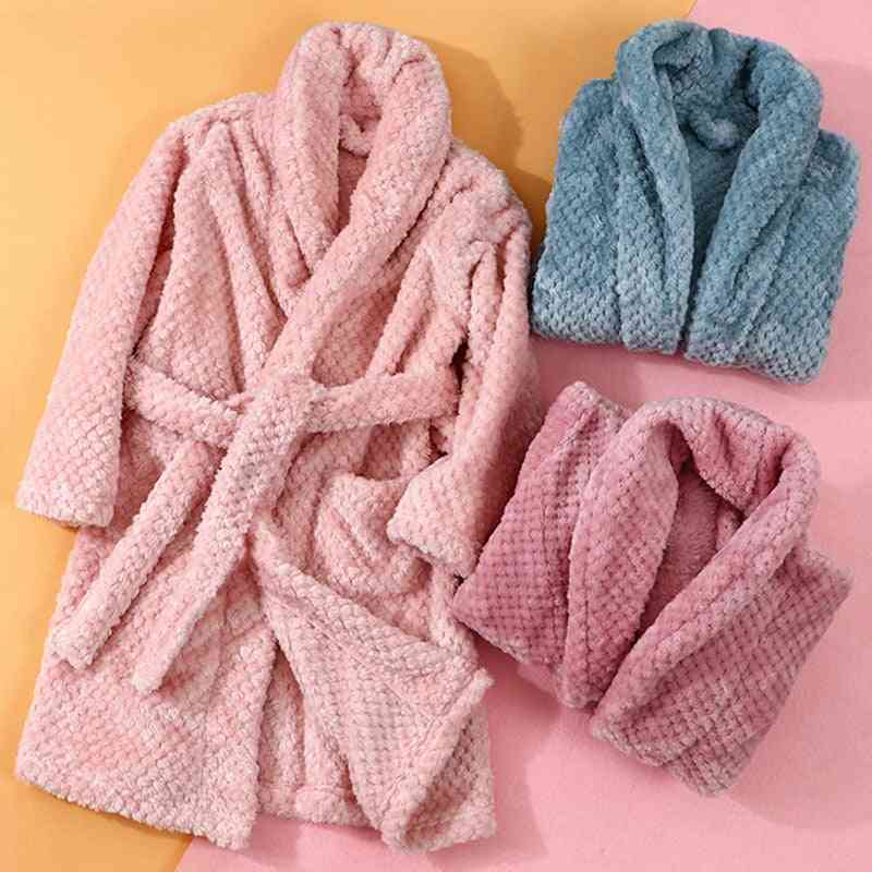 Autumn Winter Bathrobe, Kids Sleepwear Robe, Warm Soft Pajamas For Girl/boy