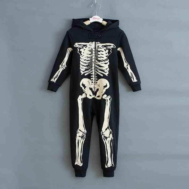 Autumn Winter Skeleton Overalls Jumpsuit, Kids Pajamas, Halloween Costumes