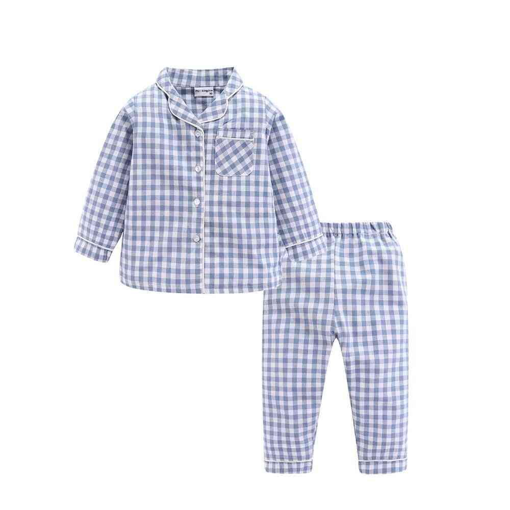 Long Sleeve Pajamas Set - Collared Plaid Autumn Cute Toddler Sleepwear