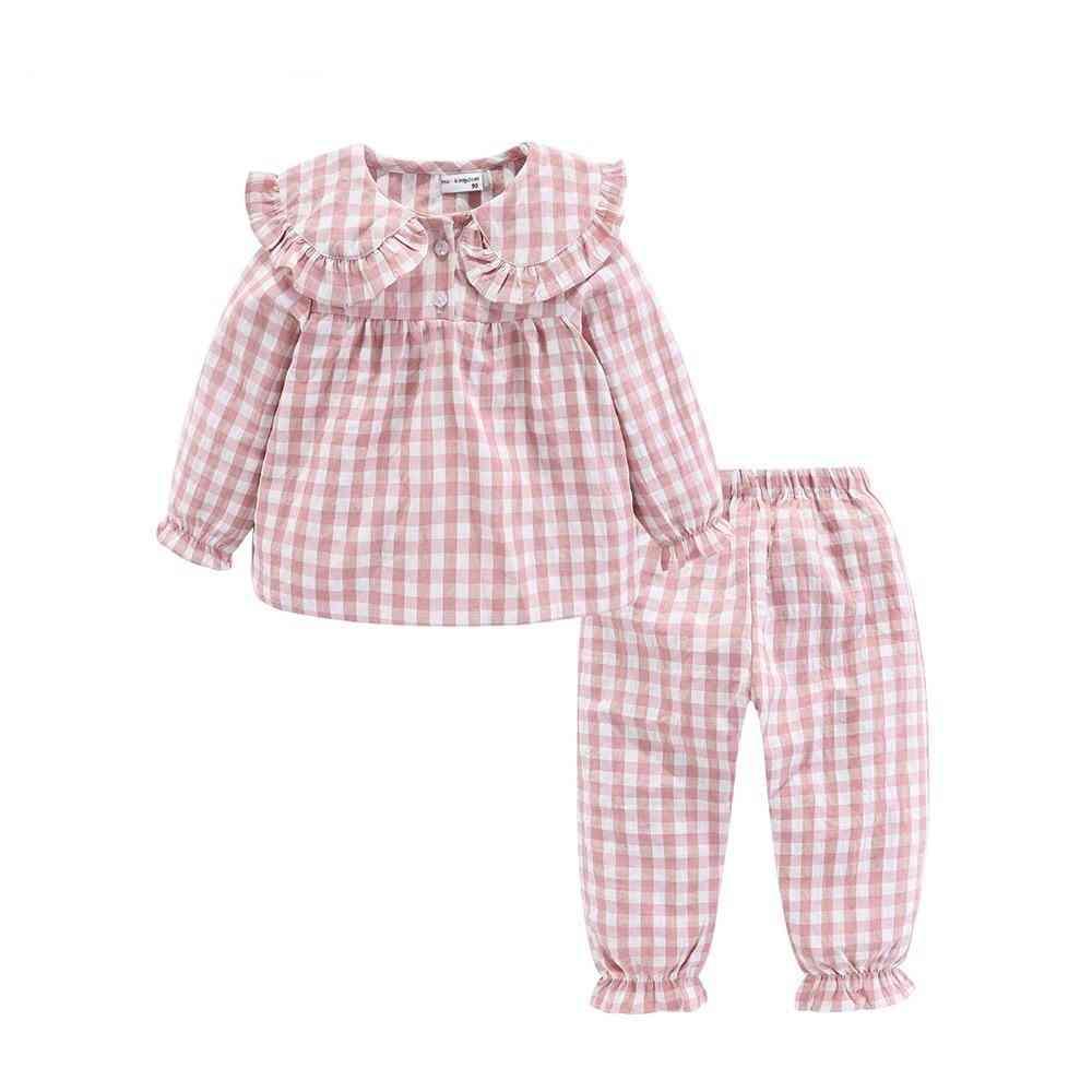 Ruffle Pajama Set, Peter Pan Collar Cute Plaid Kids Sleepwear Suit