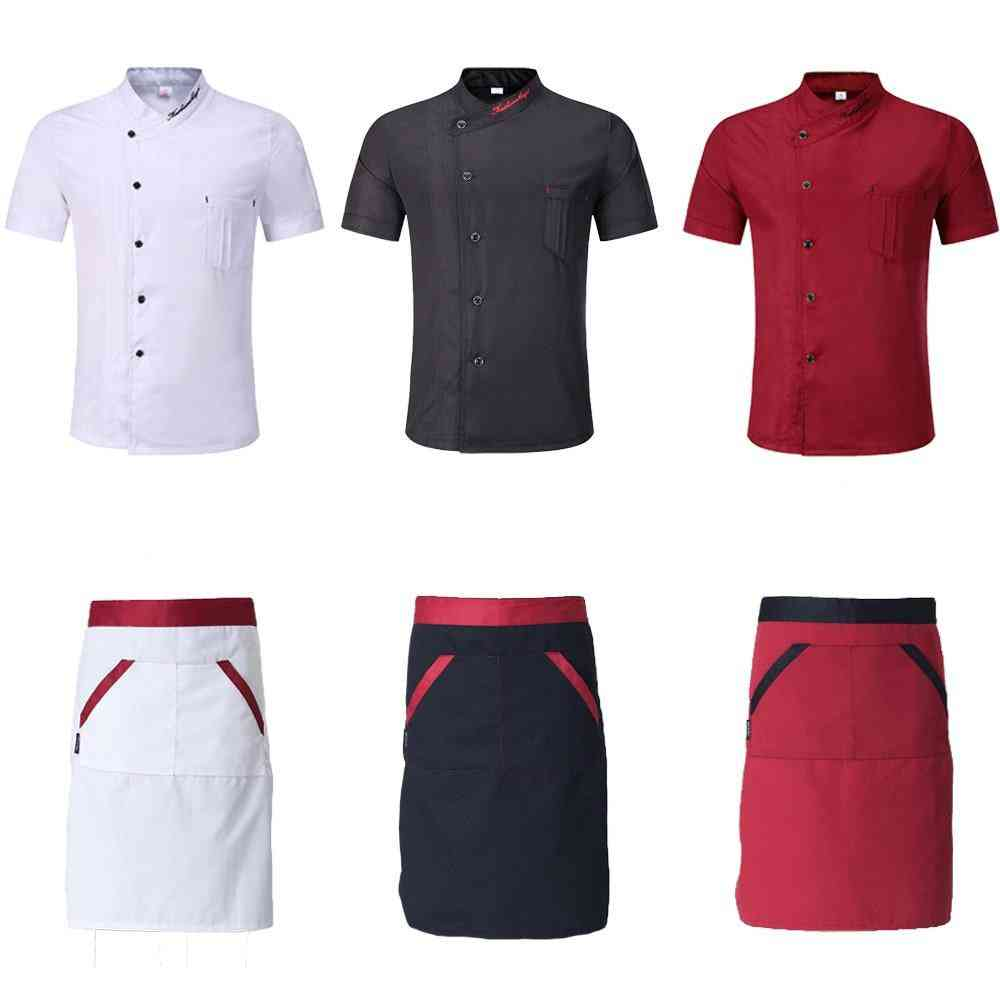 Single-breasted Kitchen Chef Uniforms, Short Sleeve, Bakery, Cafe Jackets & Aprons