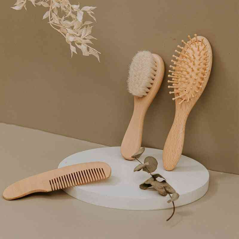 Newborn Baby Natural Wooden Soft Wool Hair Brush Head Comb