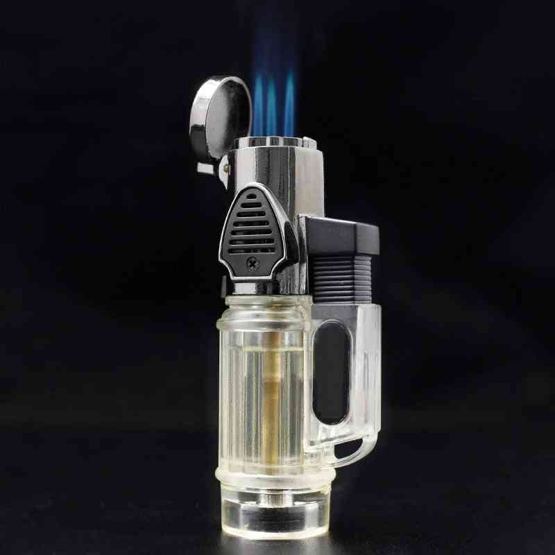 Windproof Torch Jet Turbo Gas Lighter Three Nozzles Bbq Ignition Inflatable Butane Spray Gun Lighter