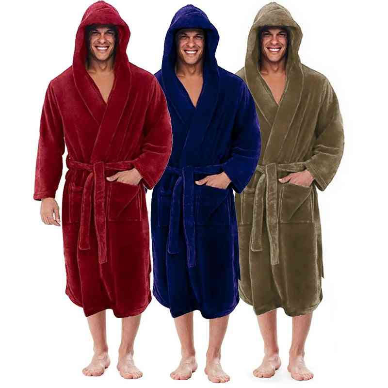 Winter Plus Size Long Coral Fleece Bathrobe Kimono Warm Flannel Cozy Night Sleepwear Pajamas