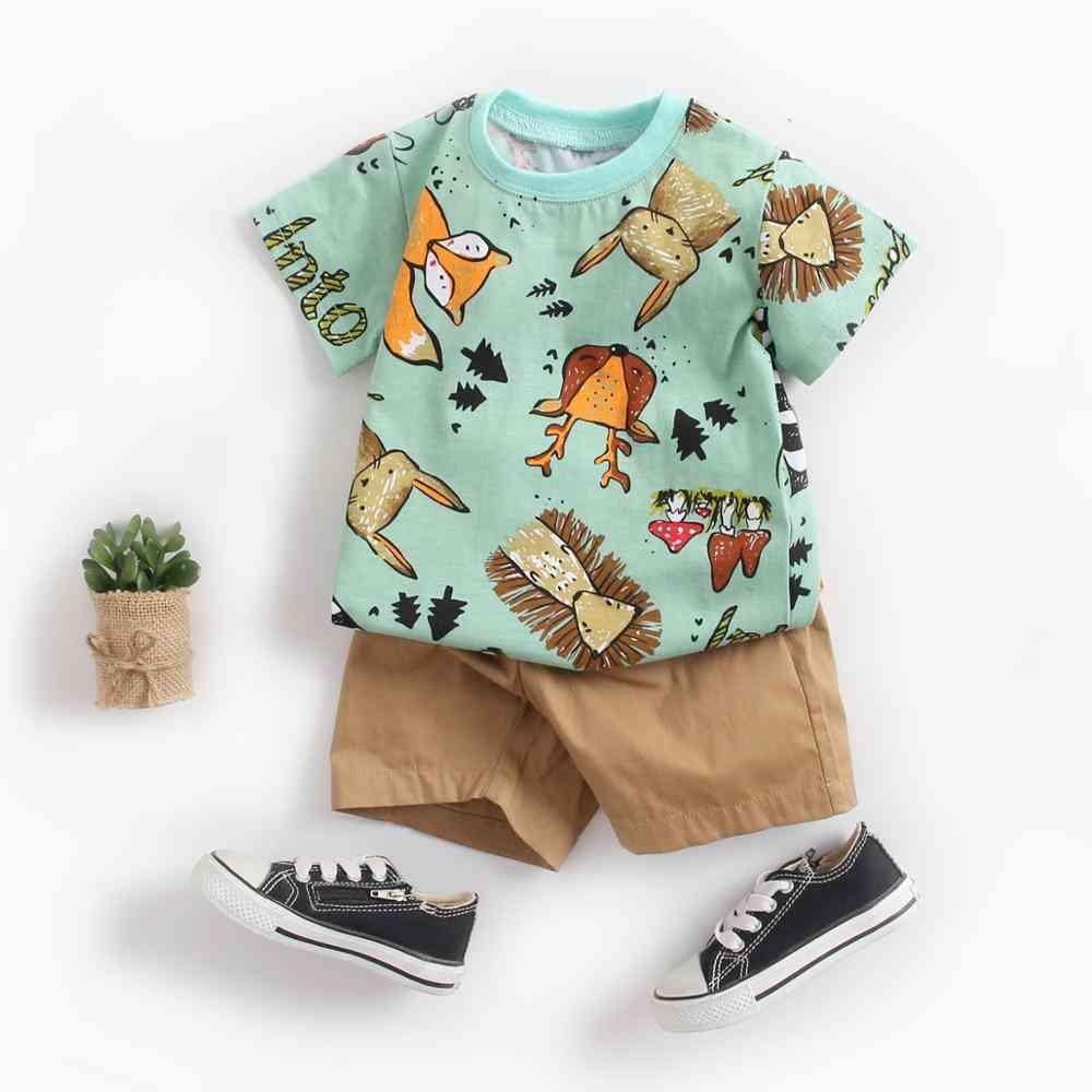 Cute Infants Clothing Sets Cotton Short Sleeve Baby Tops / Shorts 2pcs
