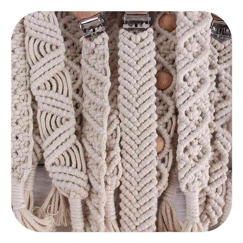 Beech Wood Clips Handmade Cotton Pacifier Chain Eco-friendly Baby Nursing Nipple Leash Strap