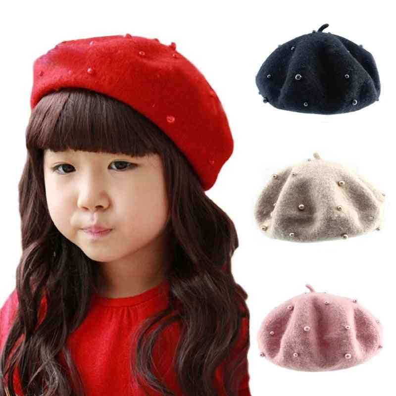 Fashion Wool Kids Hat With Pearls Candy Color Retro Baby Girl Cap Beret 2-6 Years